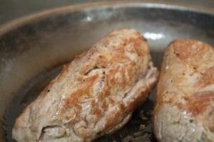 Pork Wellington - browning the pork