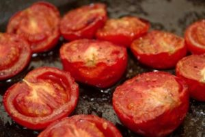Pork Wellington - roasted tomatoes on the side