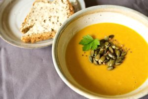 Curried Squash Soup with Toasted Spiced Pumpkin Seeds - with bread