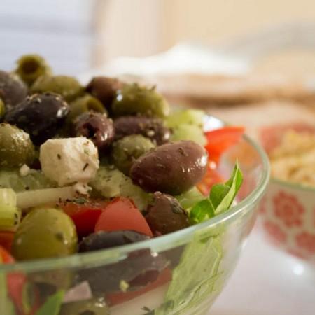 Greek Salad, Hummus and Pitta Bread