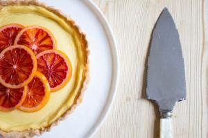Blood Orange Tart topped with caramelised blood orange slices