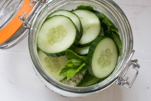 Elderflower, Cucumber and Mint Gin - before adding gin
