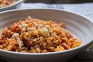 Spicy Tomato Fusilli and Garlic Pangrattato
