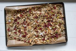 Easy Homemade Granola on tray