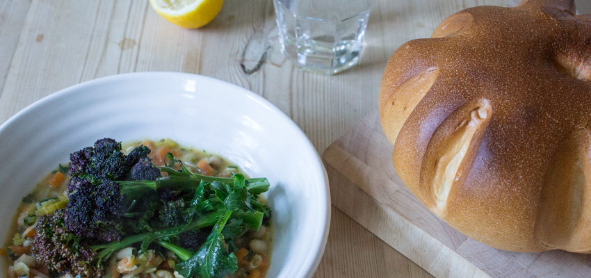 Easy White Bean Stew with Purple Sprouting Broccoli