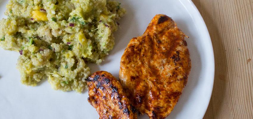 Harissa Chicken with Quinoa, Avocado and Mango Salad