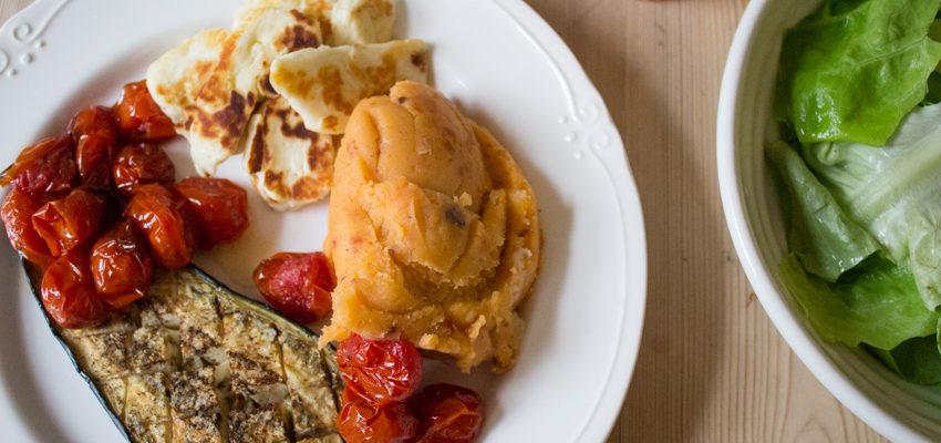 Baked Aubergine, Halloumi and Tomato Mashed Potato