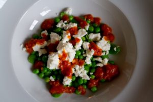 Peas, Broad Beans and Feta with Roasted Tomato and Chilli Sauce - finished