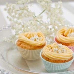 Iced elderflower cupcakes