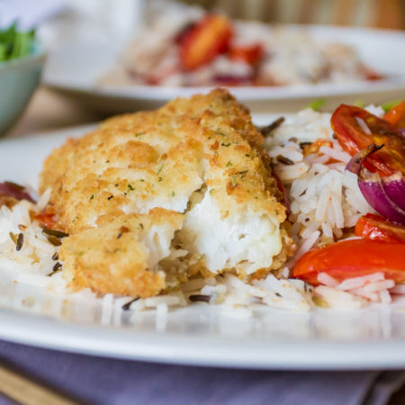 Lemon and Black Pepper Cod with Balsamic Roasted Vegetables and Rice, close up
