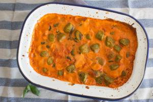 Tomato and Mascarpone Gnocchi Bake in baking dish
