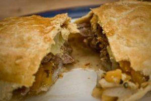 homemade Cornish pasty, inside