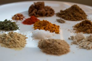 close up of different spices for spice mix