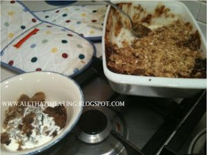 toffee apple crumble served with cream