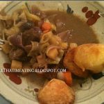 finished beef, vegetable and red wine stew