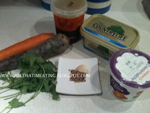ingredients for purple carrot soup