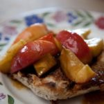 caramelised apples on fruit toast