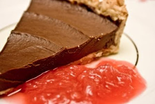Dark Chocolate and Hazelnut Tart with Rhubarb Compote