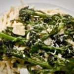 purple sprouting broccoli, garlic olive oil and parmesan pasta