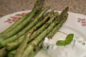 Asparagus with Creme Fraiche and Chive Dip - served
