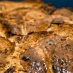 Hot Cross Bun Bread and Butter Pudding - baked