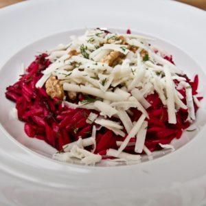 Beetroot, Walnut and Goat's Cheese Orzo - finished