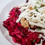 Beetroot, Walnut and Goat's Cheese Orzo - close up