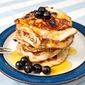 pancakes drizzled in honey