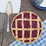 Pear and Damson Lattice Pie - finished