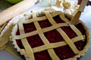 Pear and Damson Lattice Pie - before baking