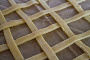 Pear and Damson Lattice Pie - making the lattice top