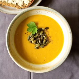 Curried Squash Soup with Toasted Spiced Pumpkin Seeds