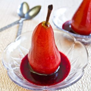 Pears Poached In Elderberry Wine