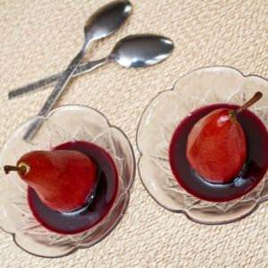 Pears poached in elderberry wine - All That I'm Eating