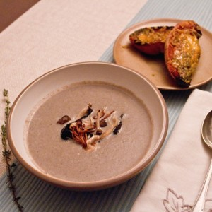 Mushroom Soup with Grilled Wild Mushrooms and Blue Cheese Croutons