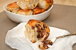 Banoffee and chocolate Chelsea buns