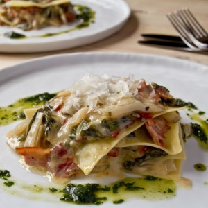chard and bacon lasagne
