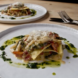 chard and bacon lasagne on the plate