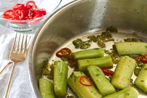 hot cucumbers with garlic and chilli