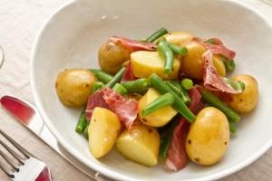 new potato green bean and iberico ham salad