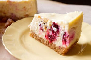 slice of baked blackberry cheesecake