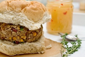 caribbean bean burger with pineapple chilli sauce