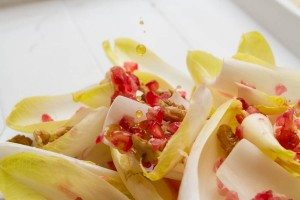 chicory and pomegranate salad with walnuts