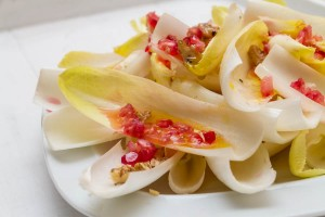 chicory walnut pomegranate salad with clementine dressing