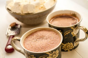 whisked hot chocolate with marshmallows