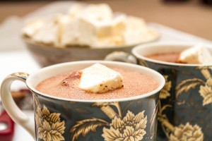 boozy hot chocolate topped with homemade nutmeg marshmallow