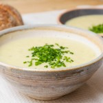 leek and potato soup topped with chives