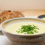 leek and potato soup close up