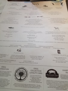 Menu at No 5 Winchester