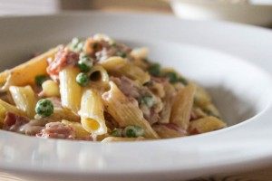 Creamy Bacon and Pea Pasta with Mint